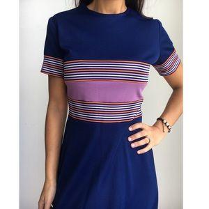 VINTAGE  navy blue striped a line skater dress S/M